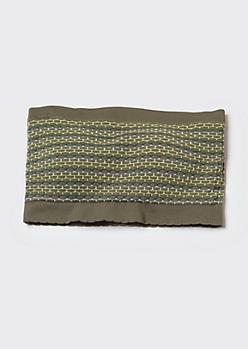 Olive Jacquard Knit Bandeau Bra