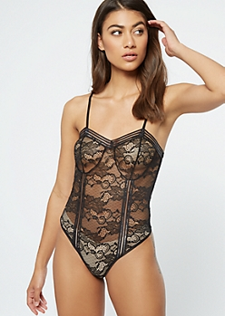 Black Floral Lace Unlined Bodysuit