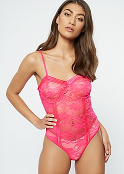 Neon Fuchsia Floral Lace Unlined Bodysuit