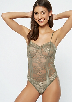 Olive Floral Lace Unlined Bodysuit