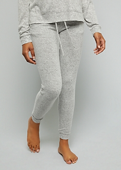 Gray High Waisted Hacci Joggers