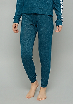 Teal High Waisted Hacci Joggers