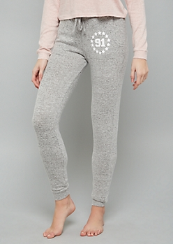 Gray 91 High Waisted Hacci Joggers