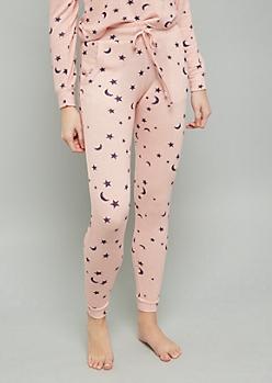 Pink Star Print Hacci Joggers