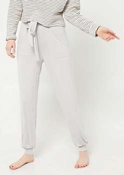 Light Gray Tie Front Harem Sleep Pants