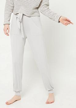 Light Gray Tie Front Harem Sleep Pants