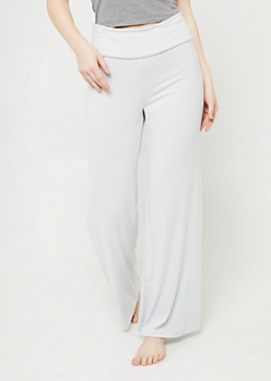 Light Blue Wide Leg Sleep Pants