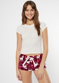 Burgundy Unicorn Print Plush Sleep Shorts