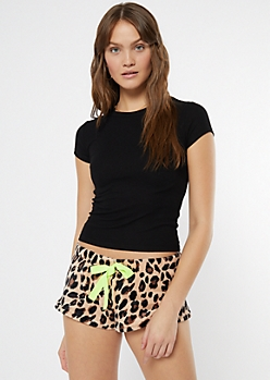 Leopard Print Plush Sleep Shorts