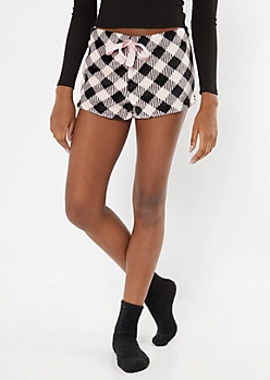 Pink Plaid Print Plush Sleep Shorts