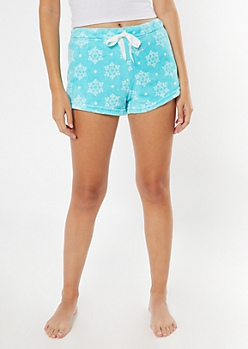 Light Blue Snowflake Print Plush Sleep Shorts