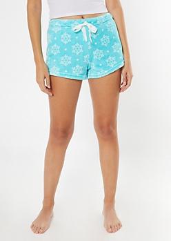 Light Blue Snowflake Print Plush Sleep Shorts