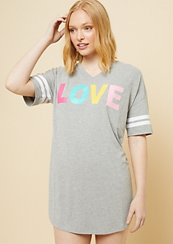 Gray Rainbow Love V Neck Super Soft Sleep Shirt