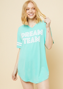 Mint Dream Team V Neck Super Soft Sleep Shirt