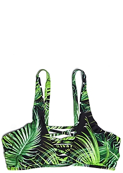 Striped Tropical Leaf Caged Reversible Bikini Top