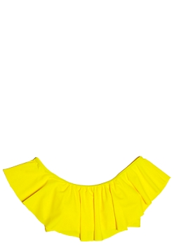 Yellow Flounce Off The Shoulder Bikini Top