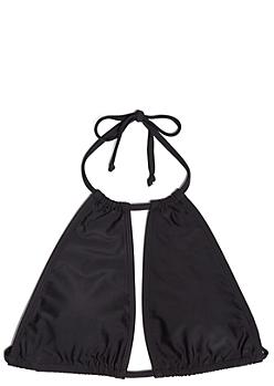 Black Cutout V String Halter Bikini Top