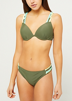 Olive Multi Colored Macramé Push Up Bikini Top