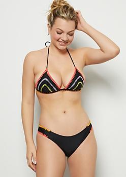 Black Neon Whip Stitch Halter Bikini Top