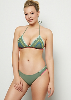 Olive Neon Whip Stitch Halter Bikini Top