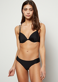 Black Push Up Strappy Ring Bikini Top