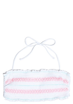 White Smocked Flounce Bandeau Bikini Top