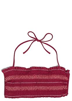 Burgundy Smocked Flounce Bandeau Bikini Top