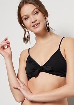 Black Tie Front Bikini Top