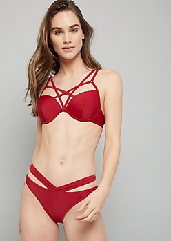Dark Red Strappy Chest Push Up Bikini Top