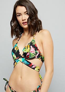 Black Tropical Floral Print Wrap Bikini Top