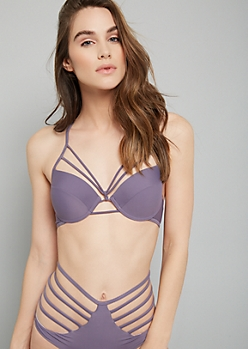 Lavender Caged Racerback Push Up Bikini Top