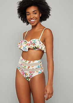 Cream Floral Print Flounce Push Up Bikini Top