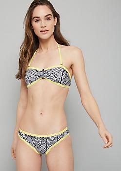 Yellow Geometric Print Bandeau Bikini Top