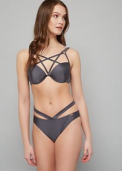 Gray Strappy Chest Push Up Bikini Top