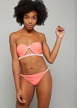 Neon Coral Stitched Halter Bikini Top