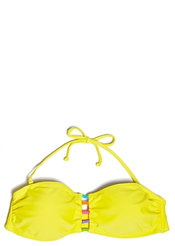 Yellow Caged Front Halter Bikini Top
