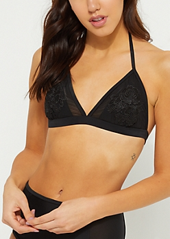 Black Mesh Embroidered Halter Bikini Top