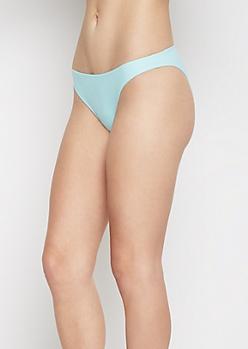 Light Blue Ruched Back Bikini Bottom