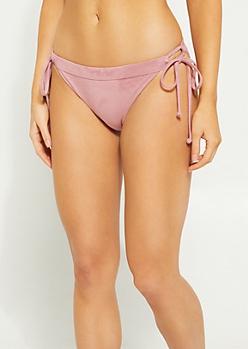 Pink Faux Suede Loop Tie Bikini Bottoms