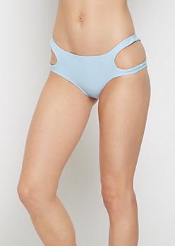 Light Blue Cut-Out Hip Bikini Bottom