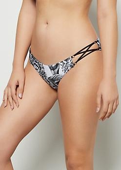 Black Floral Print Reversible Caged Bikini Bottoms