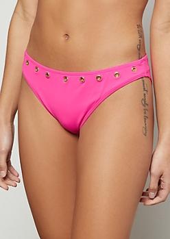 Neon Fuchsia Circle Pendant Bikini Bottoms