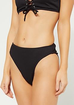Black Ribbed Knit High Leg Bikini Bottoms