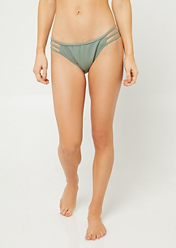 Light Green Triple Strap Ribbed Knit Bikini Bottoms