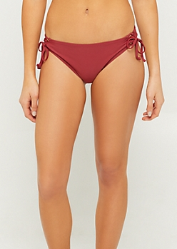 Burgundy Lace Up Tied Side Bikini Bottoms