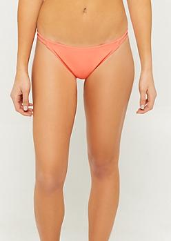 Neon Coral Double Strappy Side Bikini Bottoms