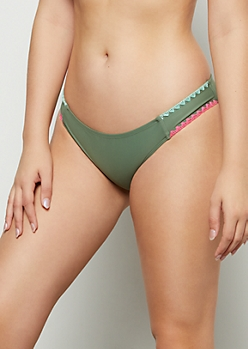 Olive Neon Whip Stitch Bikini Bottoms