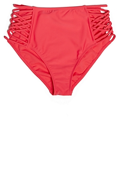 Neon Coral Macramé Caged High Waisted Bikini Bottoms