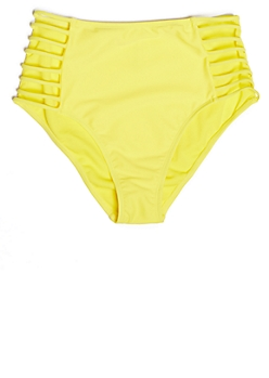 Yellow Bar Caged High Waisted Bikini Bottoms