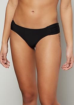 Black Ruched Side Bikini Bottoms